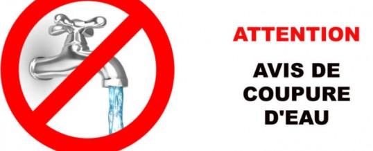 Avis d'arrêt d'eau – Mercredi 30 septembre de 13h00 à 17h00